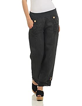 ZARMEXX pantalones de lino de las mujeres ocasionales pantalones de verano pantalones largos de deslizamiento