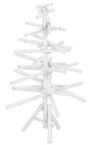 Weißer Holz Weihnachtsbaum Tannenbaum inklusive Christbaumständer H40cm / Ø29cm / Weihnachtsdekoration Echtholz Tanne für Haus und Büro