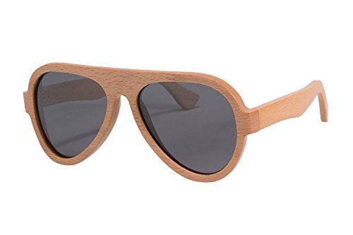 Preisvergleich Produktbild SHINU Aviator Herren Sonnenbrille Wooden Sonnenbrille Polarized Sommer Eyewear UV400 Schutz Brille-Z6068BL
