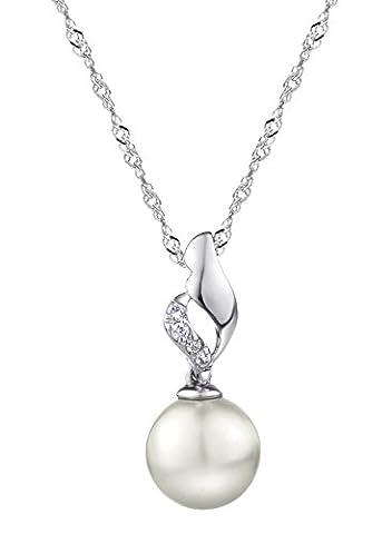 Neoglory Jewellery Halskette 925 Silber mit Kugel-Anhänger aus Perle weiß
