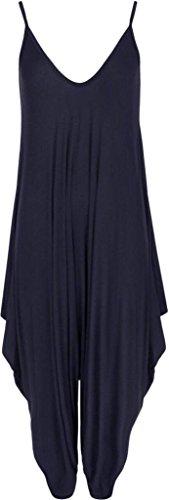 Harem Jumpsuit (Frauen Damen Plain ärmel Cami Baggy Strapy Body Harem Jumpsuit Playsuit Lagenlook Top-Kleid plus Größe XL XXL XXXL 36 38 40 42 44 46 48 50 52 54, Navy, 48/50)
