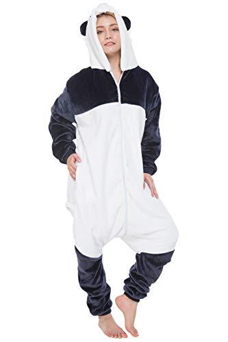 corimori 1852 MEI der Panda Damen Herren Onesie Jumpsuit Anzug Einteiler Kostüm Verkleidung Gr. 180 - 190cm, Weiß Grau Blau