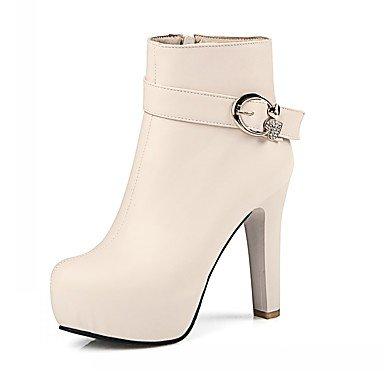 Rtry Femmes Chaussures Pu Similicuir Automne Hiver Confort Nouveauté Mode Bottes Bottes Chunky Talon Bout Rond Bottines / Strass Bottines Us10.5 / Eu42 / Uk8.5 / Cn43