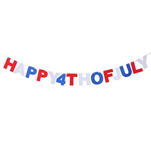 Amosfun Happy 4th of July Party Banner Amerikanischer Unabhängigkeitstag Brief Party Banner Patriotische Themen Banner Girlande für 4th of July Partydekorationen