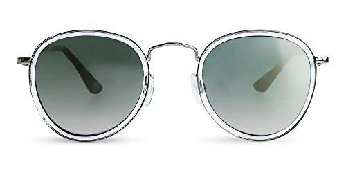 MessyWeekend Shackleton - Runde Aviator Dänische Designer Sonnenbrillen mit UV400 Schutz - Silber