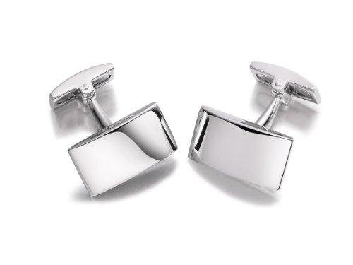 Hoxtons London Herren Sterling Silber Einfache Halbrunde Rechteckige Manschettenknöpfe