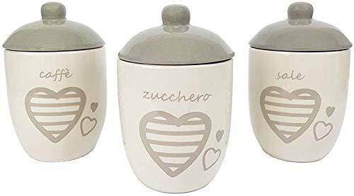 BUYSTAR Set da 3 barattoli Porta Sale Zucchero caffè Ceramica Bianca con Coperchio con Cuori Tris barattoli da Cucina