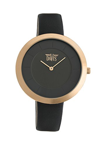 Davis 2035 - Womens Design Watch Rose Gold Case Ultra Thin Black Dial Black Leather Strap