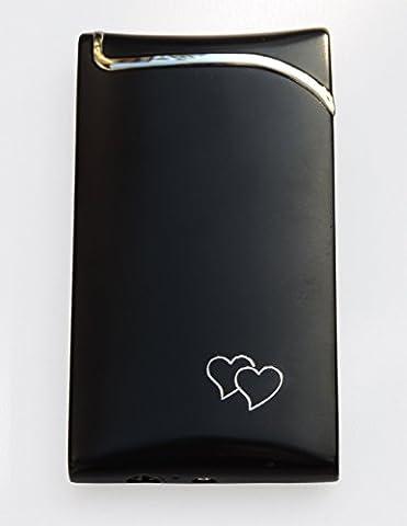 GravUp:Schmales Gas-Feuerzeug (schwarz) mit Gravur auf der Vorderseite (Gasfeuerzeug)