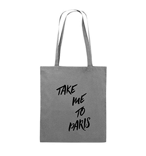 Comedy Bags - TAKE ME TO PARIS - Jutebeutel - lange Henkel - 38x42cm - Farbe: Schwarz / Silber Dunkelgrau / Schwarz