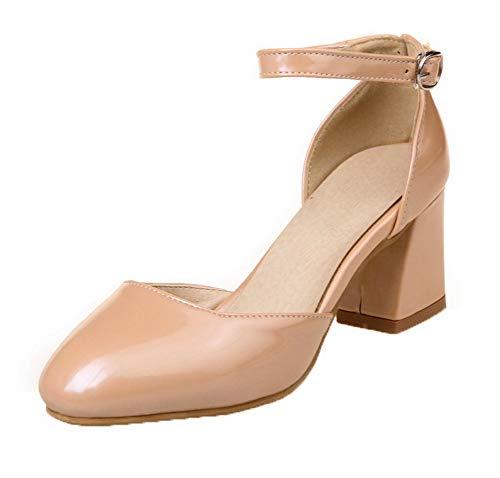 AgooLar Damen Schnalle Blend-Materialien Schließen Zehe Mittler Absatz Sandalen, Aprikosen Farbe, 34