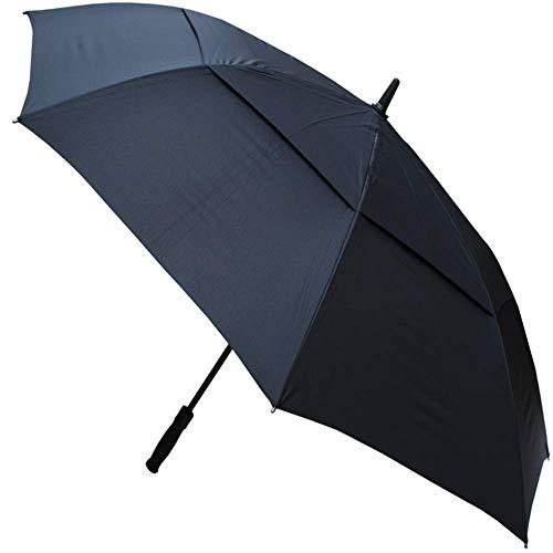 COLLAR AND CUFFS LONDON - 152 cm Arc - Parapluie de GolfXL- TRÈS Robuste - Cadre Renforcé avec Fibre de Verre - Toile aérée, Vented Double Couche - Ouverture Automatique - Canne - No