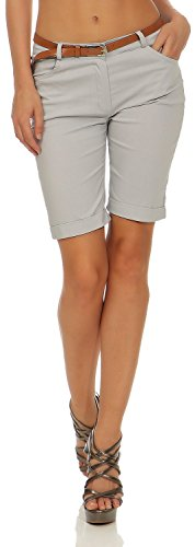 Damen Chino Shorts Kurze Hose Bermuda Pants mit Gürtel (635), Farbe:Hell Grau, Grösse:M / 38