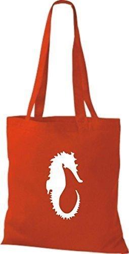 ShirtInStyle Stoffbeutel Seepferd Seepferdchen Baumwolltasche Beutel, diverse Farbe bright red