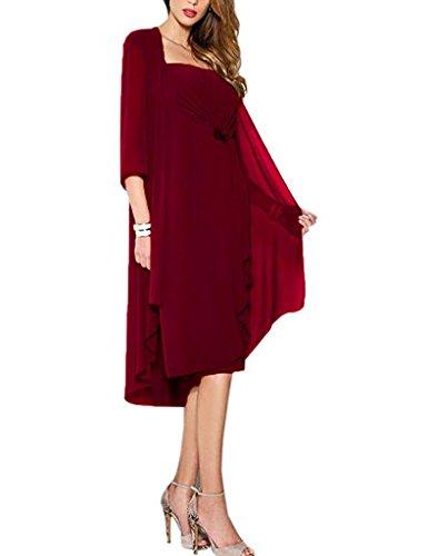 HUINI Brautmutter Kleider mit Jacke Wadenlang Chiffon Perlen Hochzeitskleid Abendkleid Ballkleid Festkleider 46