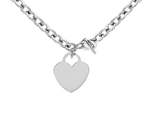 Tuscany Silver Sterling Silver Large Heart T-Bar Belcher Chain Necklace of 41cm/16""