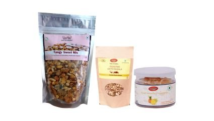 Smackys Oats Mixture Masala Flavor (150g) + Mast Masala Pineapple (30g)+ Tangy Sweet Mix (150g)