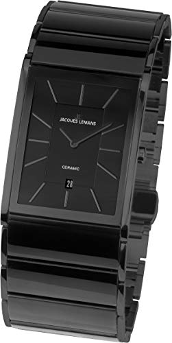 JACQUES LEMANS Herren Analog Quarz Uhr mit Edelstahl Armband 1-1939C