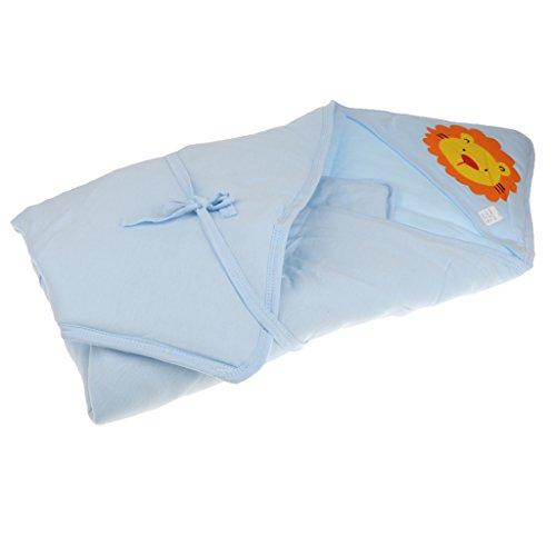 Preisvergleich Produktbild Baumwolle Baby schlafsack Swaddle Einschlagdecke Babydecke zum Einwickeln Baumwolle Wickeldecke Warm Wattiert Wickelsack - Blau,  one size