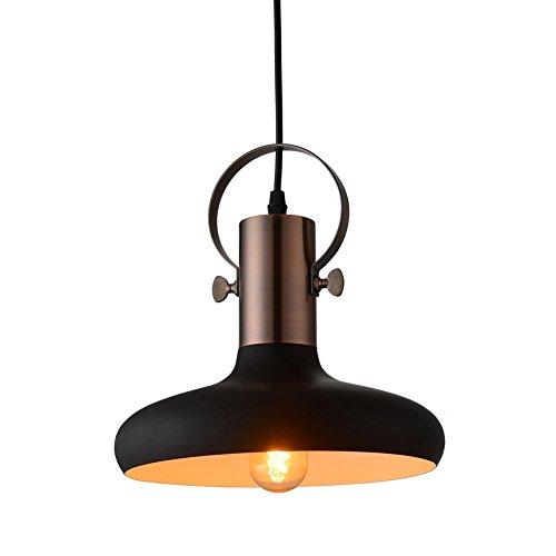 MSTAR Vintage Industrial Pendelleuchte Schwarz Metall 1- Licht Hängeleuchte E27 Deckenleuchte für Küche Insel Wohnzimmer Schlafzimmer