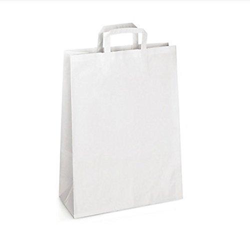 100 Sacs kraft blanc à poignées plates 13 LITRES : 26 cm haut x 35 large x 12 cm soufflet un cabas boutique élégant et solide et renforcé et résistant. Idéal comme cabas boutique, sac magasin, sac commerce, sac cadeau, emballage, sac cadeau, salon et transport d'articles ou produit
