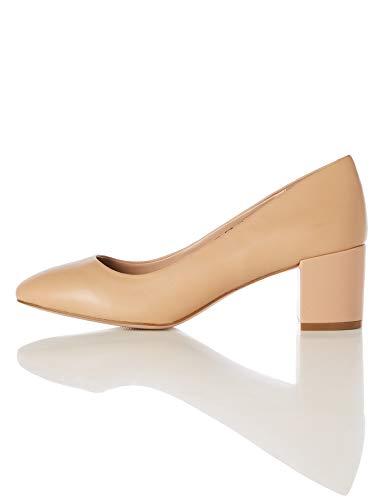 Find. Round Toe Block Heel Leather Court