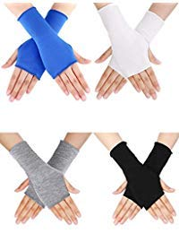 9fa171d2aad835 Bememo 4 Paar UV Schutz Handschuhe Handgelenk Länge Sonnen Block Fahren  Handschuhe Unisex Fingerlose Handschuhe (