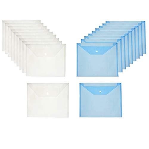 JZK 20 x Blu bianco buste porta documenti A4 trasparenti con bottone cartellina cartelletta portadocumenti plastica per documenti fogli 100