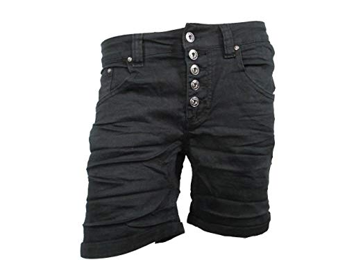 PLACEduJOUR Sweat Denim Krempel Bermuda Capri Jeans Hose Shorts offene Knopfleiste (M-38, Black-Short) -