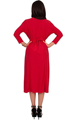 KOH KOH® Femmes Robe Mi-Longue Manches 3/4 Col V Châle Cocktail Longueur Genoux Rouge
