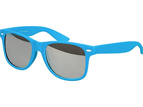 Balinco Hochwertige Nerd Sonnenbrille Rubber im Wayfarer Stil Retro Vintage Unisex Brille mit Federscharnier - 96 verschiedene Farben/Modelle wählbar (Hellblau - Silber verspiegelt)