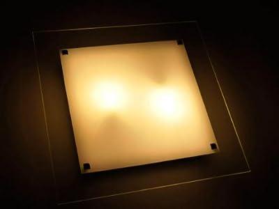 Deckenleuchte Wandlampe mit Glaselement Maße ca. 45x45 cm, Klar/Weiß von Aniba bei Lampenhans.de