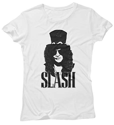 LaMAGLIERIA Damen-T-Shirt Slash Rock Icon - 100{c91e7b5938aa2fdfeec2ef037dab0bef19df90bde303ea00ce9cd1eded521493} Baumwolle Guns n\' Roses Rock Band, S, Weiß