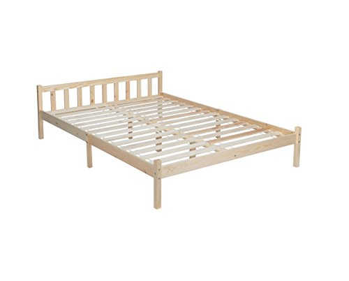 Fanilife Double Bed Pine Wooden Frame 4FT6 for Kids Adults Bedroom Furniture Pine Color