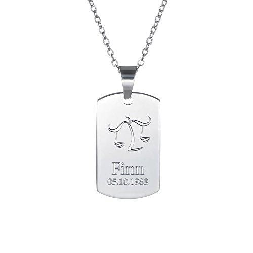 Gravado – Kette aus Edelstahl – Farbe Silber – Sternzeichen Waage – Anhänger mit Gravur – Dog Tag – Personalisiert mit Name und Datum – Geschenke für Männer – Geschenkidee für Frauen