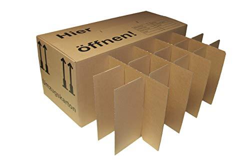 15 Gläserkartons Flaschenkartons Umzugskartons Geschirrkarton 2-Wellig 15 Fächer von A&G-heute - 8