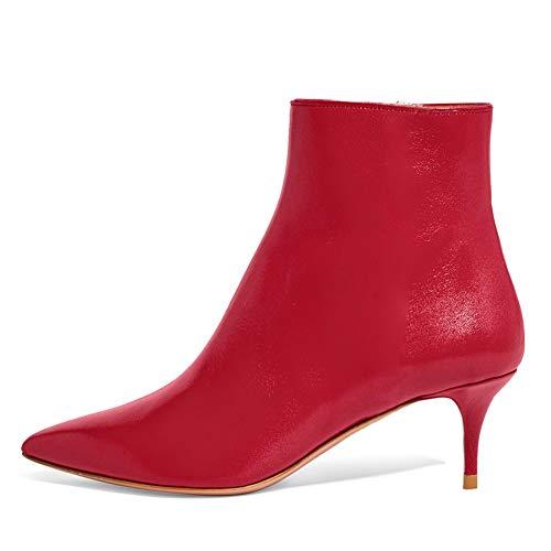 Lutalica BX002 Frauen Spitzschuh Low Kitten Heel Reißverschluss Komfort Kleid Stiefeletten Schuhe Matt Rot Größe 35 EU