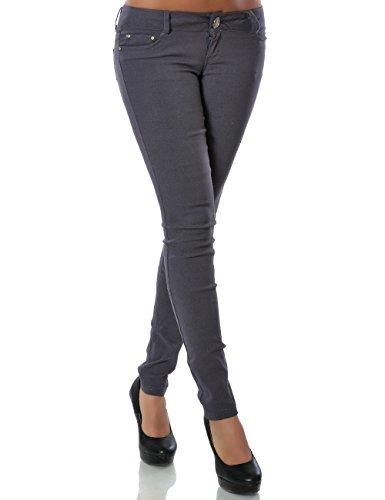 Damen Hose Treggings Skinny Röhre (weitere Farben) No 14205, Farbe:Steingrau;Größe:40 / L