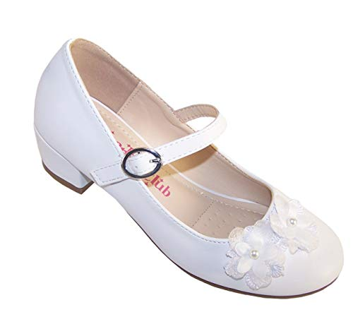 Zapatos de comunión para niñas con tacón bajo, Color Blanco, Color Blanco, Talla 17 EU