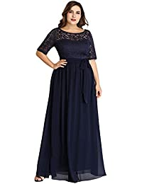 0efc7d0ed27 Ever Pretty Women s Elegant O Neck with Half Sleeves A Line Floor Length  Chiffon Long Plus Size Bridesmaid Dresses with…