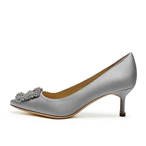 f171117c1b0 Amrantos Women Normal Satin Jewel Buckled High Heel Pointed Toe Studded  Wedding Court Shoes Grey 6