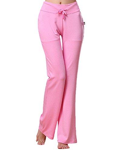 Donne Flares Lunghi Pantaloni Yoga Danza Del Ventre Allenamento Bell Pantaloni Pink