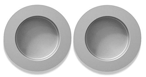 inova Star Griffmuschel Griff 2er Set Aluminium Silber 60mm Zubehör Tür Schiebetür Selbstklebend (Doppelseitige Schiebetür)