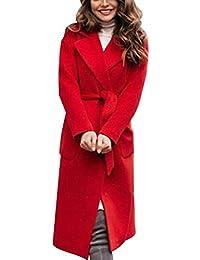 Manteau en Laine Manteau Moelleux pour Femmes à Grand Col Cape Élégante avec  Ceinture Long Manteau 4b64919e768