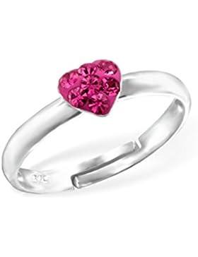 Liara - Kinder Herz-Ring 925 Sterling Silber.Poliert und Nickel frei