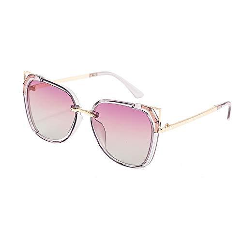 DLJRX Neue Polarisierte Retro-Sonnenbrille Reflektierende Unregelmäßige Damen-Sonnenbrille Trendy Große Polygonbrillen Mit Rundem Gesicht (Color : Pink)