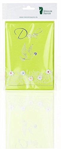 Rössler Papier Dankeskarten für Kommunion / Konfirmation B6 (3 Stück inkl. Einlegeblatt und Umschlag, 12,5 x 17,6 cm) grün mit Taube und Blütenranke