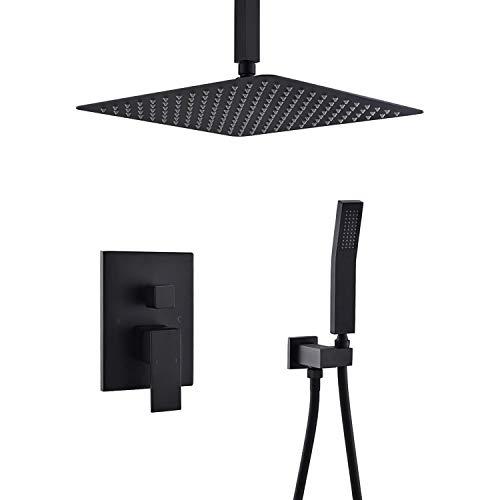 Duschsystem, Decken-Regenduschsystem mit 12-Zoll-Hochdruck-Regenduschkopf und Handbrausegarnitur aus Metall, mattschwarzes System, Luxus-Duschset -
