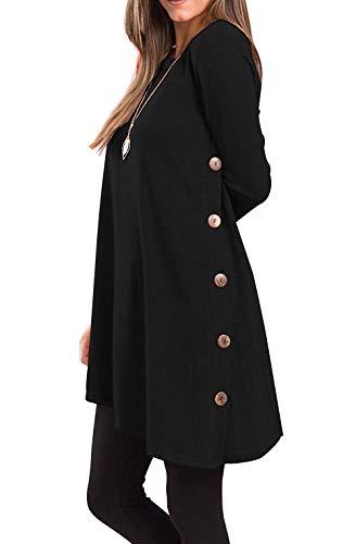 Yidarton Pull Robe Femme Hiver Col V Casual Manche Longue Mini Robes Tunique (Z-Noir, M)