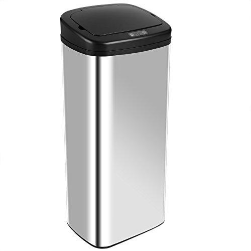 Deuba Sensor Mülleimer • 50L • viereckig • Silber • Edelstahl • mit Bewegungssensor und Deckel 50 Sensor
